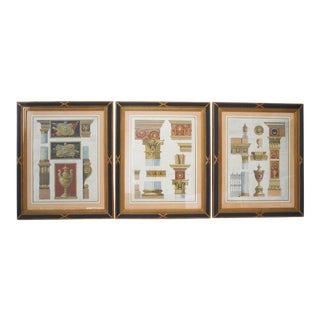 Vintage Neoclassical Revival Architectural Prints - a Set of 3 For Sale