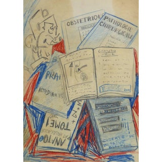 Vintage French Abstract Drawing - Medical Books For Sale