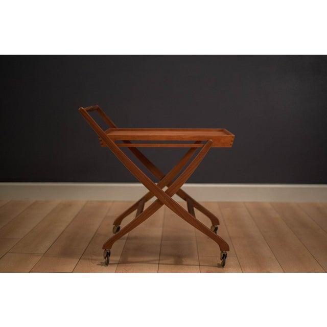 Danish Modern Teak Folding Bar Cart For Sale - Image 10 of 10