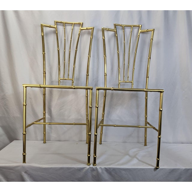 1950s Gilt Wrought Iron Faux Bamboo Chiavari Style Chairs - a Pair For Sale In Buffalo - Image 6 of 6