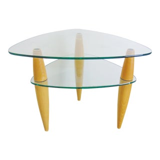Late 20th Century Modern Design Maple & Glass Table For Sale