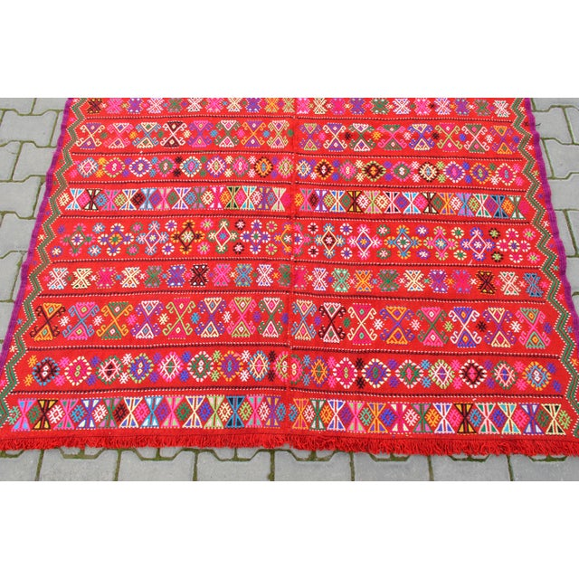 Modern Colorful Area Rug - 5′6″ × 6′12″ For Sale - Image 6 of 9