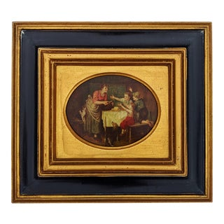 1930s 20th C Black & Gold Framed Dutch Interior Scene Oil Painting on Board For Sale