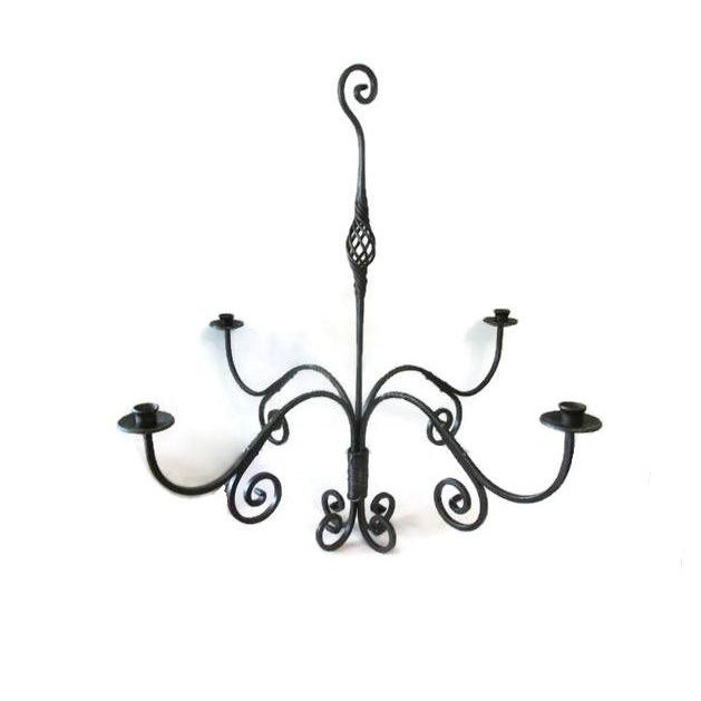 Iron hand forged candelabra chandelier chairish iron hand forged candelabra chandelier image 2 of 4 aloadofball Image collections
