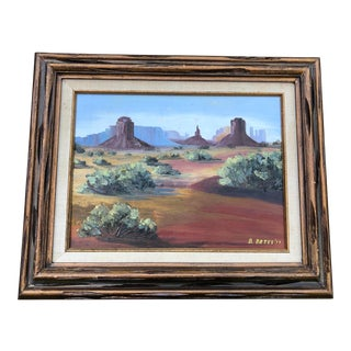 1970s Vintage Desert Landscape Oil Painting For Sale