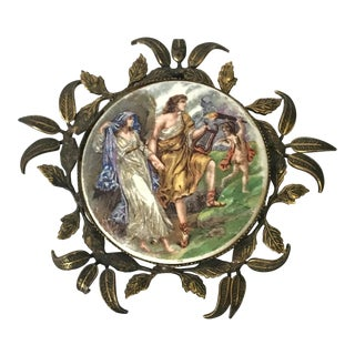 Greek Lovers Scene Ceramic Medallion For Sale