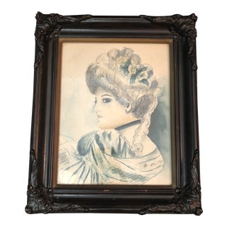 Vintage Framed Victorian Portrait Watercolor Painting For Sale