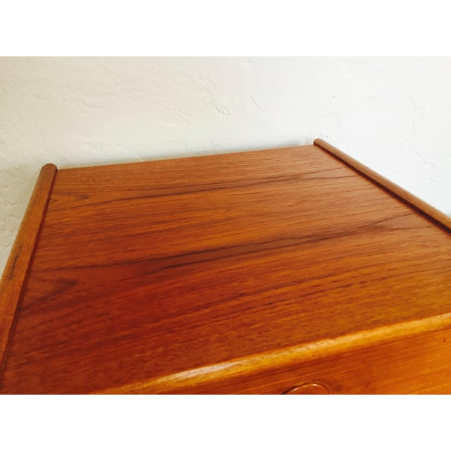 Fabric Mid Century Norwegian Teak Telephone Bench For Sale - Image 7 of 9