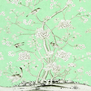 Sample - Schumacher X Mary McDonald Chinois Palais Wallpaper in Aquamarine For Sale