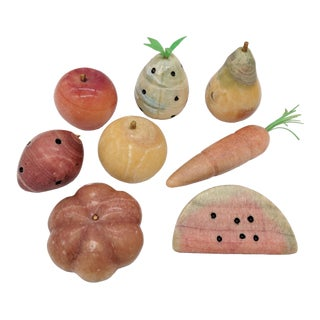 20th Century Art Deco Alabaster Fruit Figurines - Set of 8 For Sale
