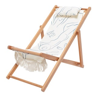 Sling Outdoor Chair - Le Basque Figure Drawing with Fringe For Sale