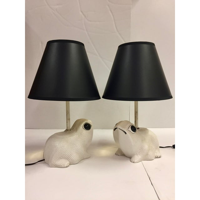 Vintage Italian White Ceramic Hobnail Frog Lamp With Shades - a Pair For Sale - Image 13 of 13