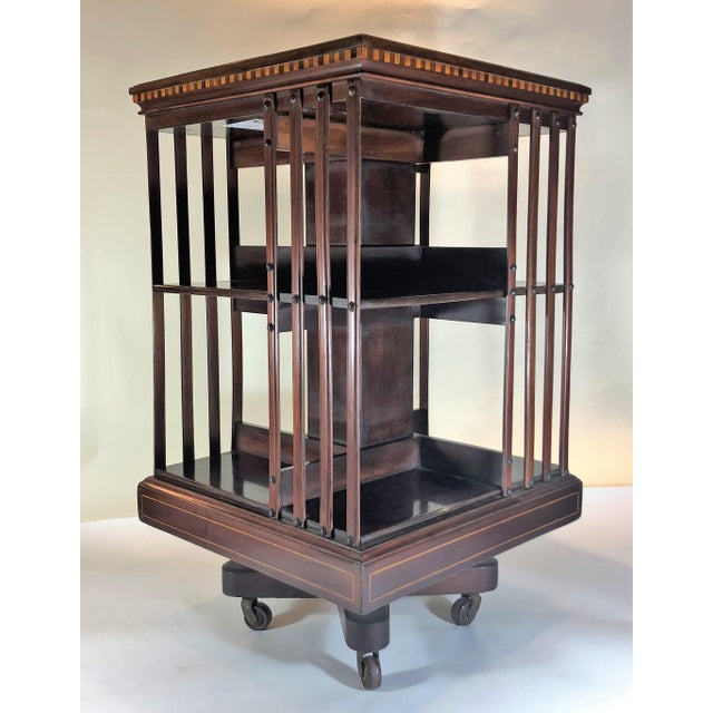 Mahogany Antique English 19th Century Mahogany and Satinwood Inlay Bookstand. For Sale - Image 7 of 7