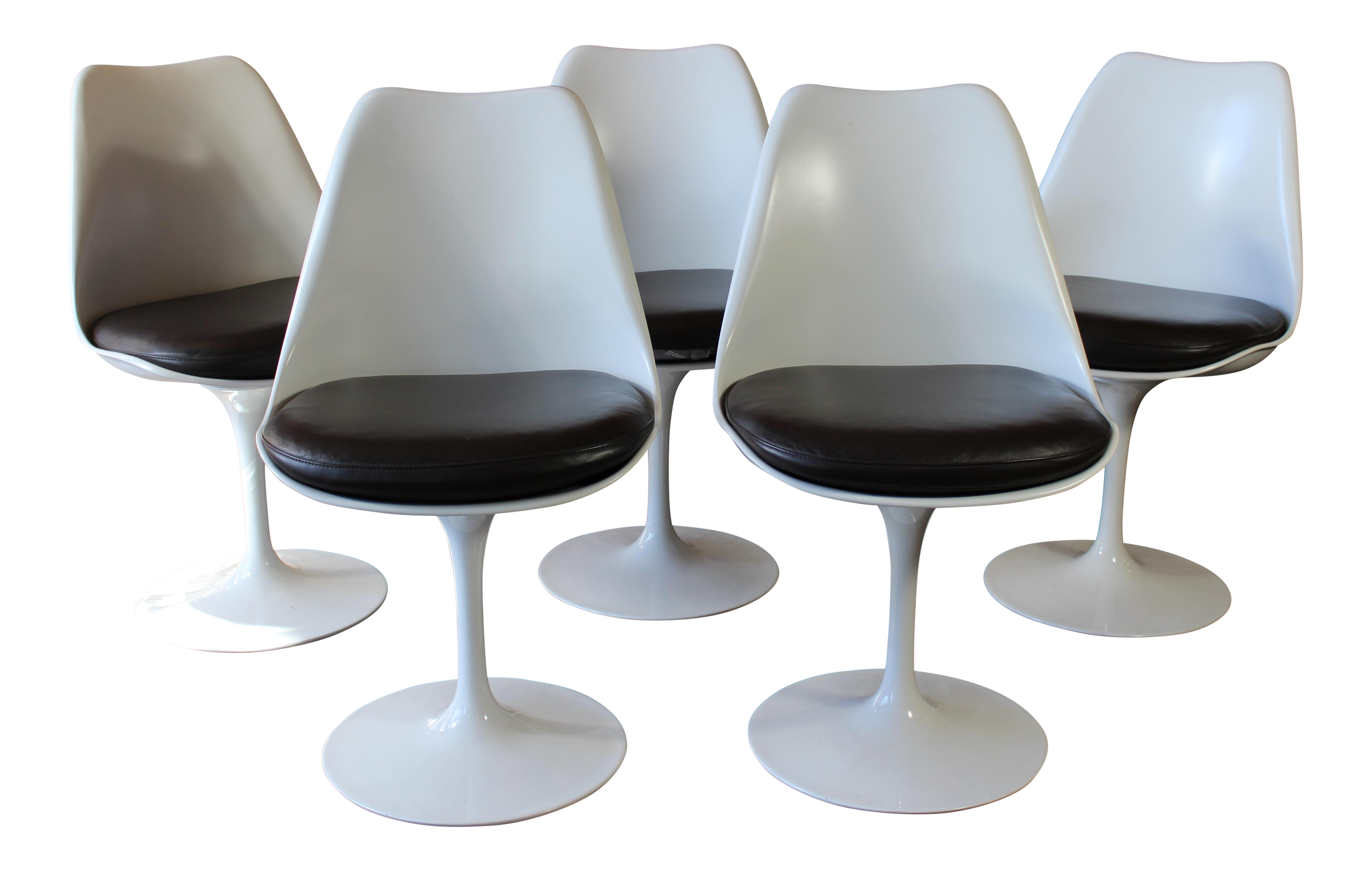 Contemporary Eero Saarinen For Knoll Tulip Dining Chairs   Set Of 5   Image  1 Of