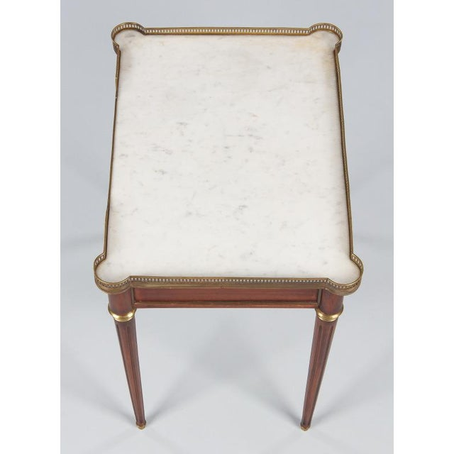 Louis XVI Style Marble-Top Rosewood Side/Serving Table, 1900s - Image 4 of 10