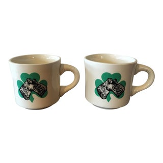 Restaurant Ware Mugs With Clovers & Dogs - A Pair