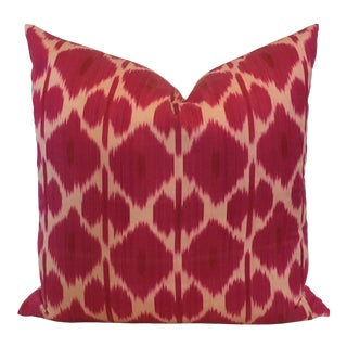 Handmade Silk Ikat Pillow With Woven Back For Sale