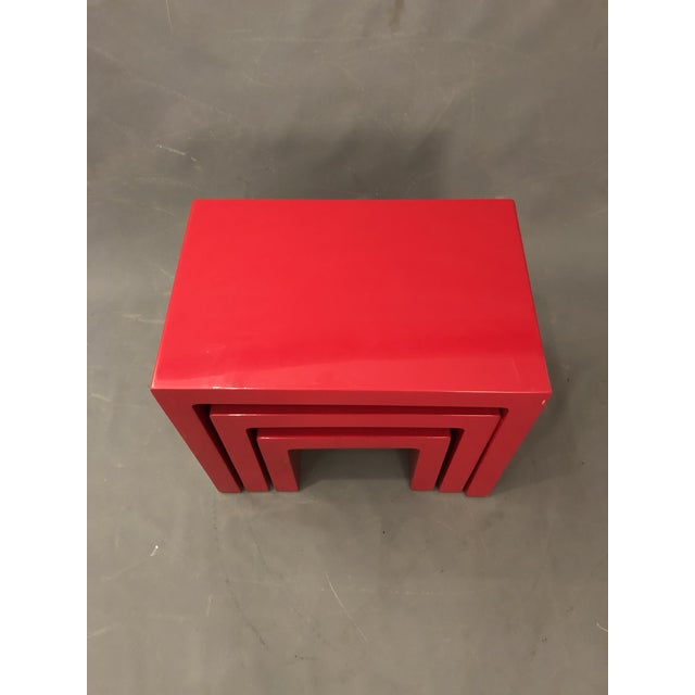 Lacquer Mid Century Glossy Lacquered Red Waterfall End Tables- 3 Pieces For Sale - Image 7 of 13