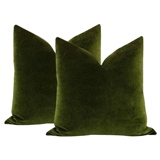 "2010s 22"" Olive Velvet Pillows - a Pair For Sale - Image 5 of 5"