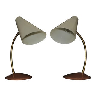 Vintage Mid-Century Gooseneck Table Top Desk Lamps - a Pair For Sale