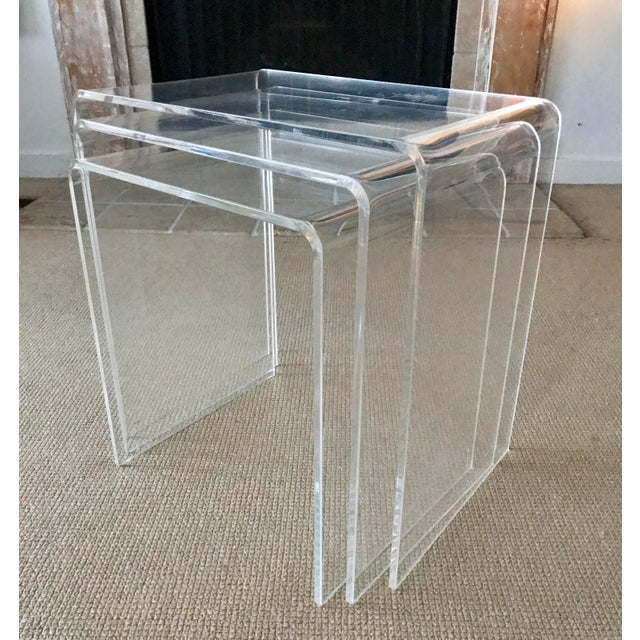 Vintage Lucite Nesting Tables - Set of 3 For Sale - Image 9 of 9