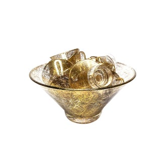 Vintage Mid Century 15 Piece Ultra-Glamorous 22kt Gold Splattered Pattern Punch Bowl Set For Sale