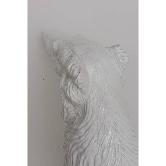 White Life-Size Borzoi in Italian White Glazed Terracotta For Sale - Image 8 of 10