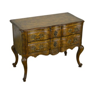 Baker French Louis XV Style Burl Wood Oak Chest For Sale
