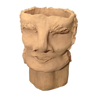1970s Brutalist Male Clay Bust For Sale