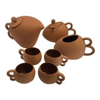 1990s Modernist Handmade Ceramic Coffee Set - Set of 7 For Sale