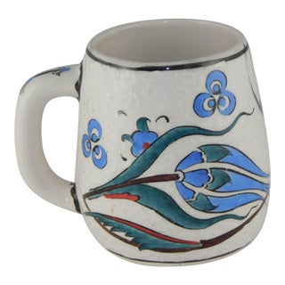 Turkish Flower Mug | Ceramic Coffee Cup Souvenir | Colorful Tulip Design Tribal Decor | Tile Cup For Sale