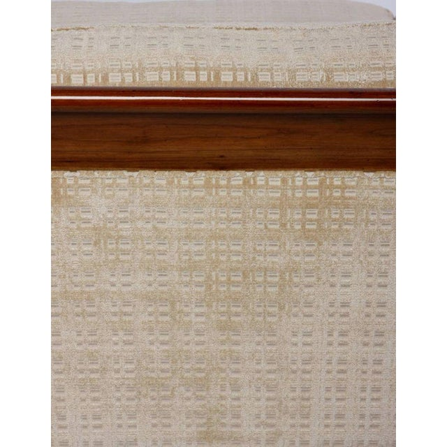 Baker Furniture Walnut & Down-Filled Velvet Sofa. For Sale In Chicago - Image 6 of 6
