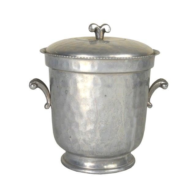 Vintage Hammered Aluminum Ice Bucket For Sale