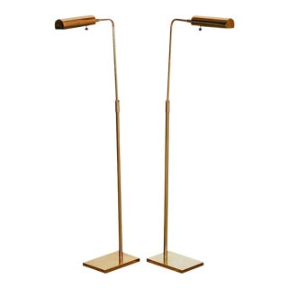 Koch and Lowy Adjustable Brass Reading Lamps - a Pair