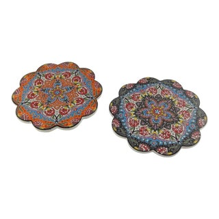 Set of Two Turkish Ceramic Coaster, Coffee Service For Sale