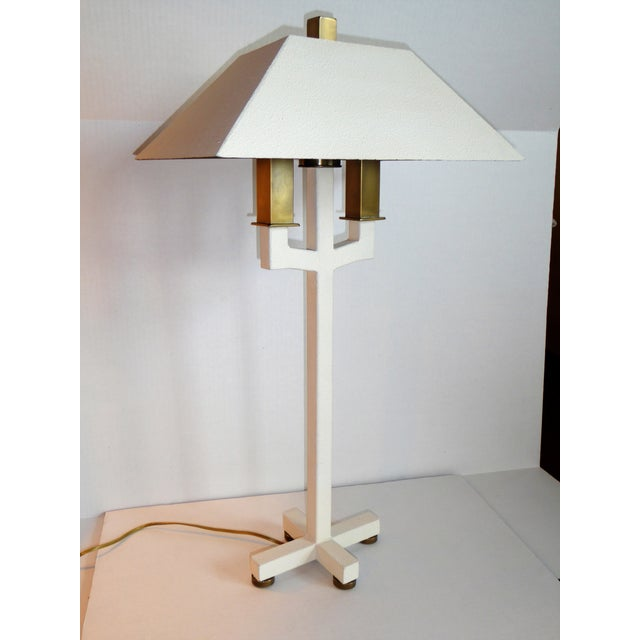 Lucious antiqued brass and white textured metal Postmodern Bouillote table lamp, exceptional lighting created by Hart...