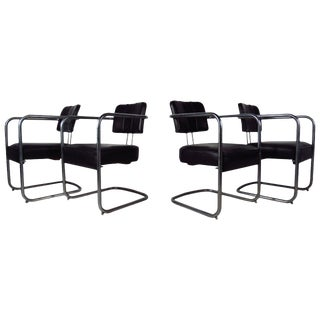 Set of Four Italian Black Leather and Chrome Chairs For Sale