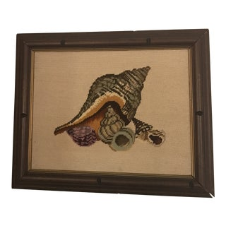 Vintage Framed Tapestry Artwork With Sea Shells For Sale