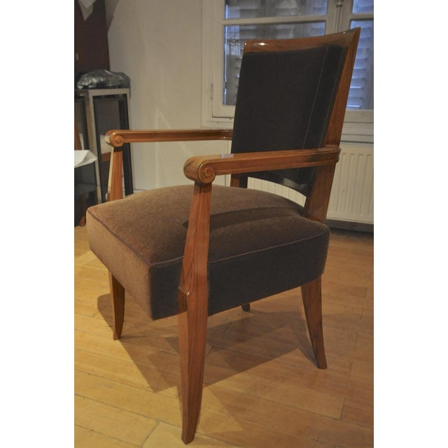 Mohair Maxime Old Pair of Refined Solid Walnut Armchairs For Sale - Image 7 of 9