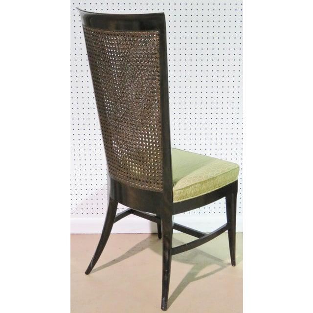 6 Harvey Probber Ebonized Caned Back Dining Chairs - Image 4 of 6