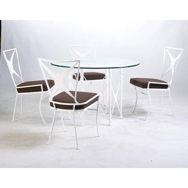 Fabric Hollywood Regency Metal Outdoor Dining Set - Set of 5 For Sale - Image 7 of 7