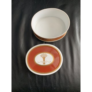Neoclassical Oval Burnt Orange and Gold Porcelain Box With Scroll Decoration - Made in Portugal Preview