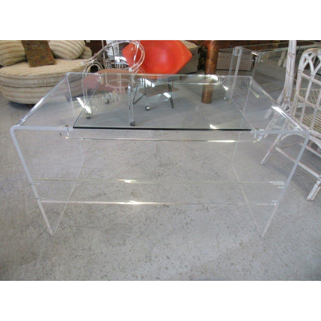 Lucite & Glass Lucite Waterfall Desk - Image 5 of 8