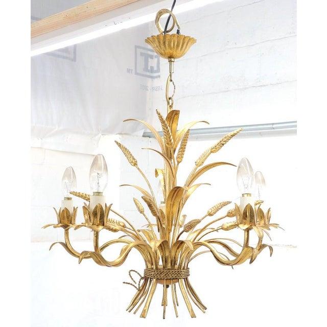 Metal Gold Gilt Metal Cattail Sheaf Light Fixture Chandelier For Sale - Image 7 of 9