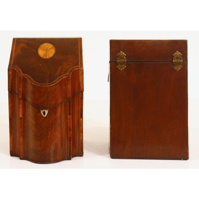 Late 18th Century Pair of George III Mahogany Serpentine Inlaid Knife Boxes Circa 1780 For Sale - Image 5 of 8