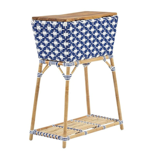 Madrid Party Bucket w/Teak Cutting Board Top. Removable Galvanized Steel Bucket. Star Pattern weave. Color - White/Navy.