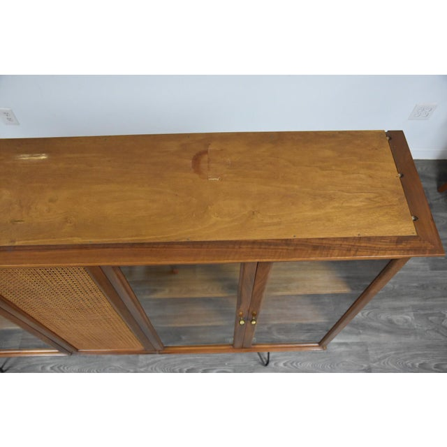 Metal Walnut and Cane Mid Century Bookcase For Sale - Image 7 of 11