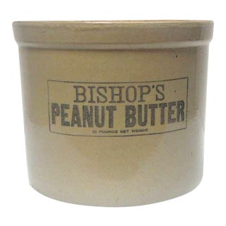 """Large 19th Century """"Bishops Peanut Butter"""" Crock with Lid For Sale"""