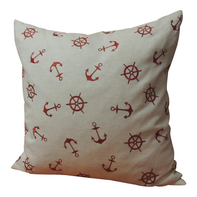 Red and Natural Embroidered Nautical Decorative Pillow For Sale