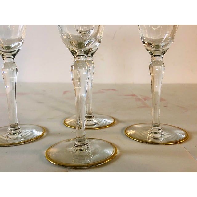 Hollywood Regency Double Gold Rim Champagne Stems, Set of 4 For Sale In Boston - Image 6 of 10